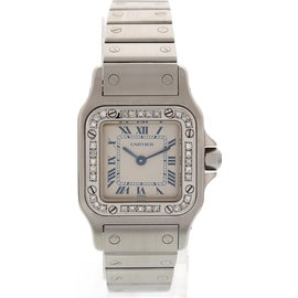 Cartier Santos 1565 Stainless Steel Diamonds Womens Watch