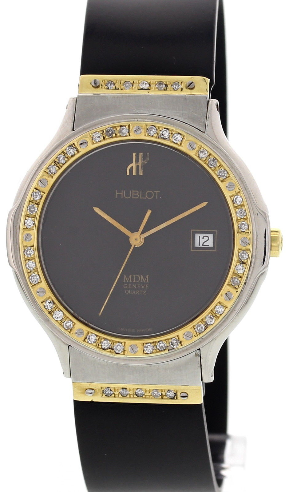 "Image of ""Hublot MDM Stainless Steel Diamond Mens Watch"""