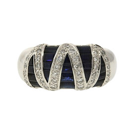 Levian 18K White Gold Blue Sapphire Diamond Zig Zag Band Ring