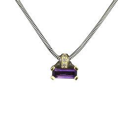 Lagos Sterling Silver & 18K Gold Amethyst Diamond Pendant Necklace