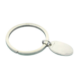 Tiffany & Co. Sterling Silver Oval Apple Tag Charm Keychain Pendant