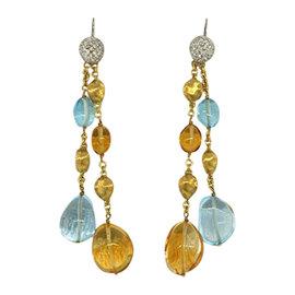 Marco Bicego 18K Yellow Gold Citrine Topaz Confetti Diamond Dangle Drop Earrings