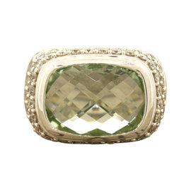 David Yurman Sterling Silver Prasiolite Diamond Cable Ring Band
