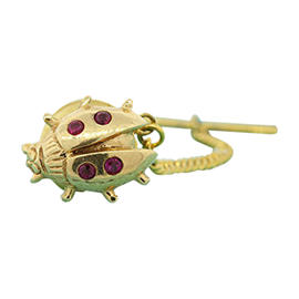 Tiffany & Co. 14K Yellow Gold Ruby Ladybug Lapel Tie Tack Pin