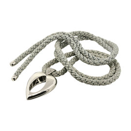 Piaget 18K White Gold Pave Diamond Heart Pendant Grey Cord Necklace