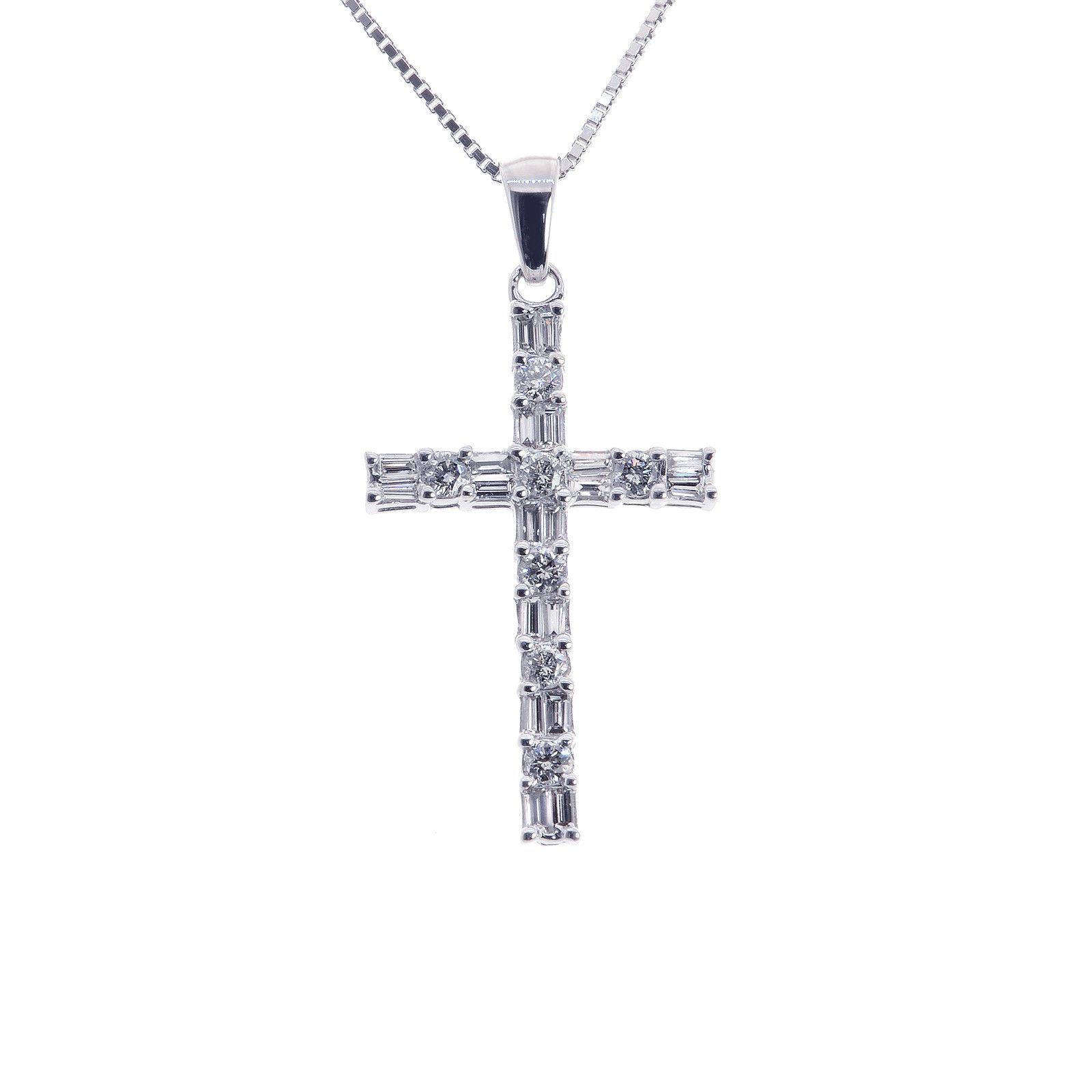 "Image of ""14K White Gold 1.00 Ct Baguette & Round Cut Diamond Cross Pendant"""