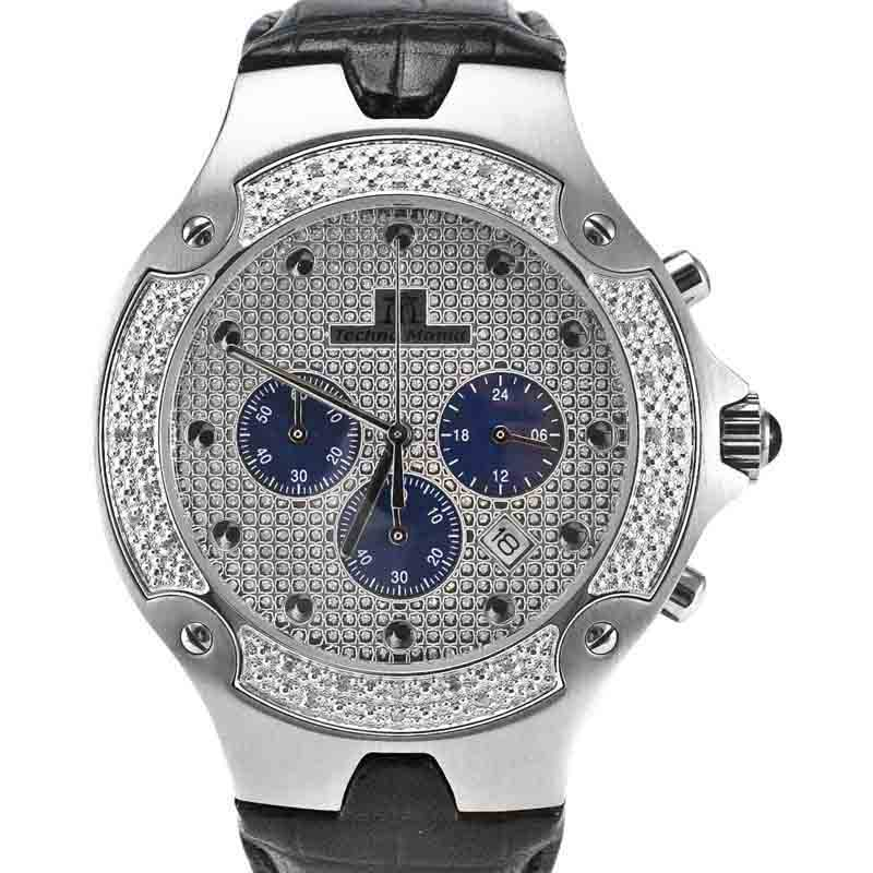 "Image of ""Techno Mania 942 I Stainless Steel & Diamond Dial 44mm Mens Watch"""