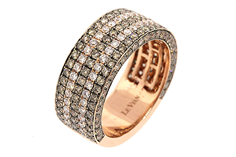 "Image of ""Levian 14K Rose Gold Chocolate White Diamond Band Ring"""