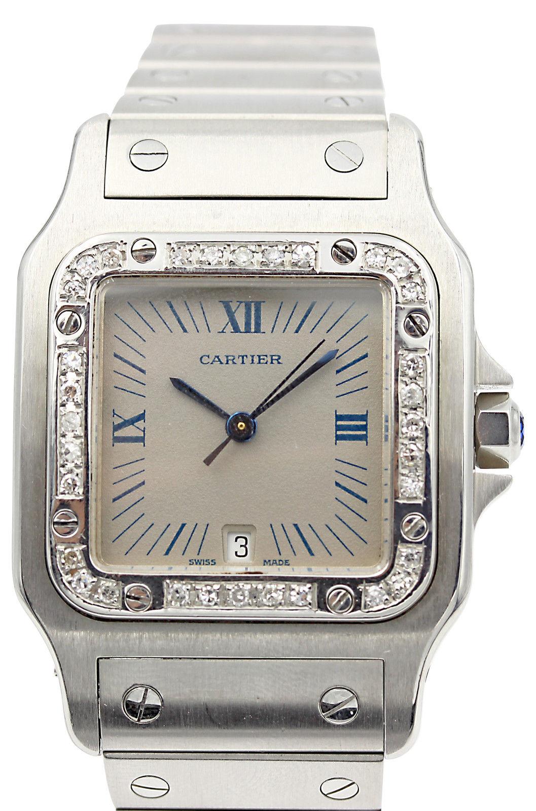 """""Cartier Santos Stainless Steel Unique Grey Dial & Diamonds Men's Watch"""""" 510631"