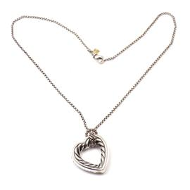 David Yurman DY 925 Sterling Silver and 18k Yellow Gold Open Heart Necklace