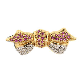 Levian 14K Yellow Gold Pink Sapphire Diamond Ribbon Bow Pin Brooch