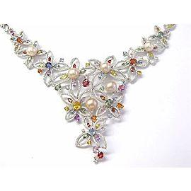 18K White Gold 17.25 Ct Diamond Pearl Sapphire Multi-Color Necklace