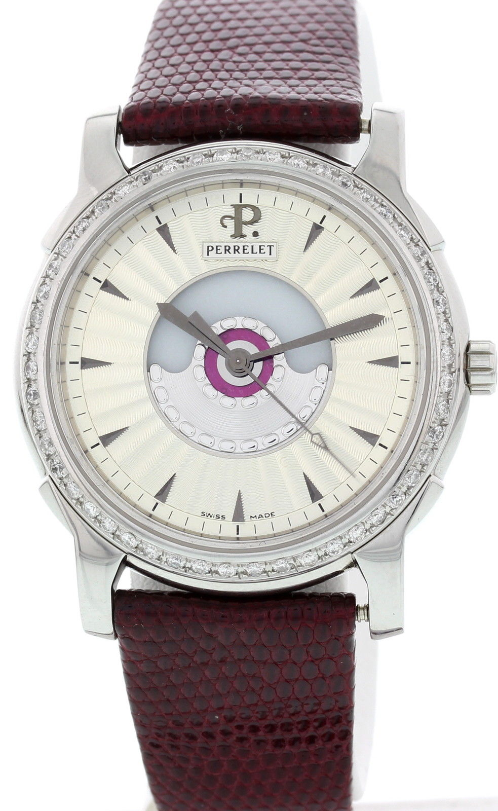"""Image of """"Perrelet Le Locle Stainless Steel & Leather Diamonds Automatic 36mm"""""""