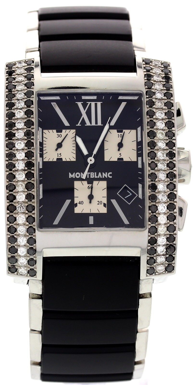 """Image of """"Montblanc 7049 Stainless Steel & Ceramic Diamonds Quartz 34mm Mens"""""""