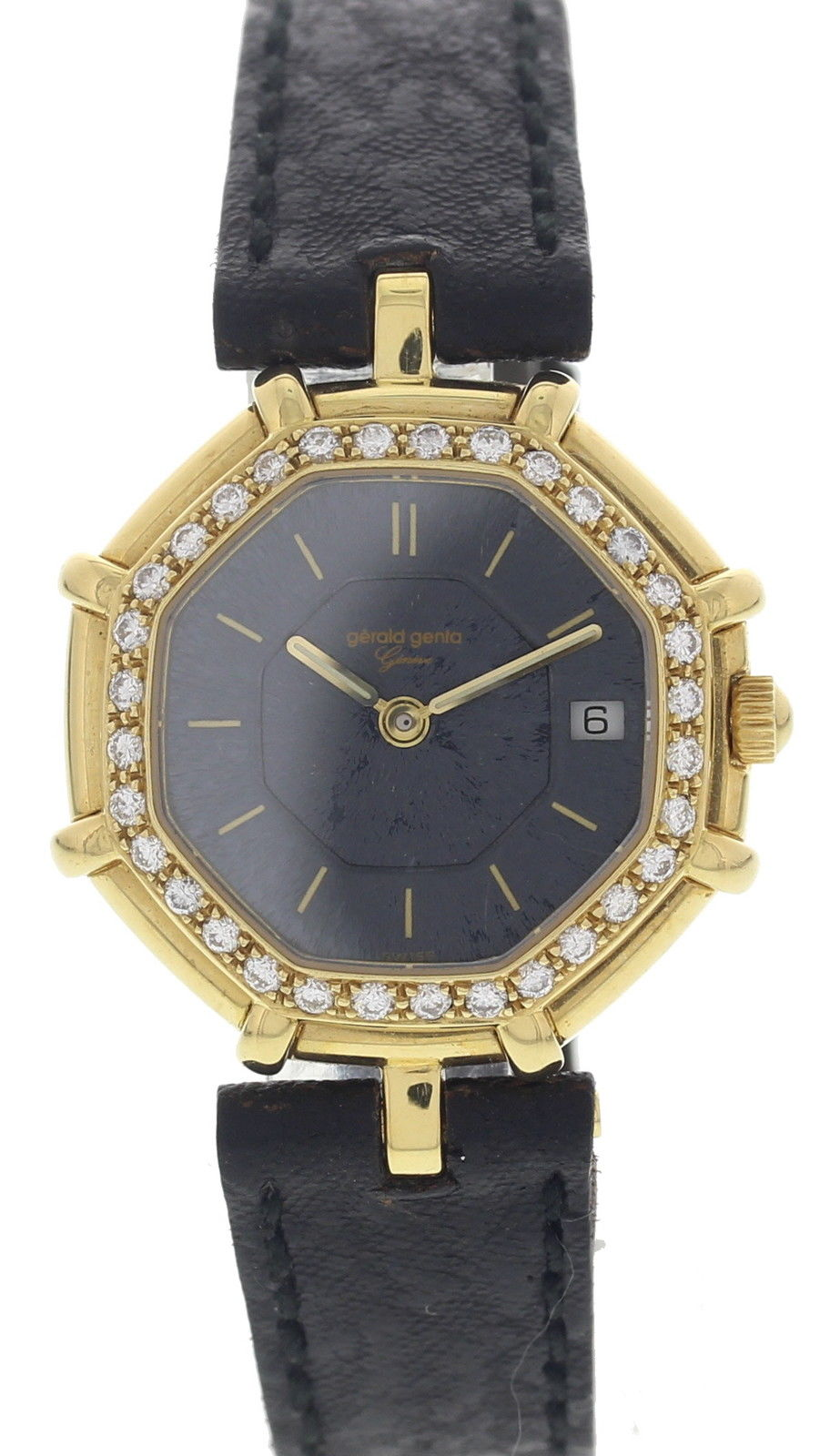 "Image of ""Gerald Genta Octagonal G2851.7 18K Yellow Gold & Leather Diamond"""