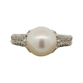David Yurman Sterling Silver Pearl DIamond Starburst Ring