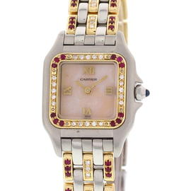 Cartier Panthere 18K Yellow Gold / Steel with Diamond and Rubies Womens Watch