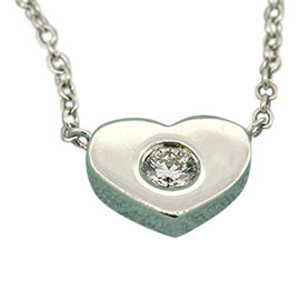 Tiffany & Co. Sterling Silver Paloma Picasso Diamond Heart Pendant Necklace