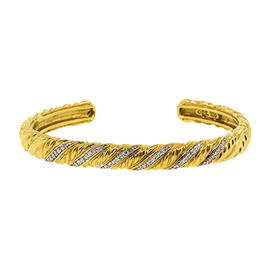 David Yurman 18K Yellow Gold Diamond Cable Cuff Braid Bracelet