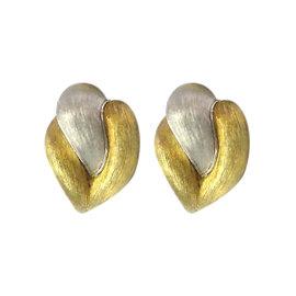Henry Dunay Platinum/18K Yellow Gold Huggie Earrings