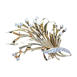 18K Yellow Gold Diamond Basket Pin Brooch