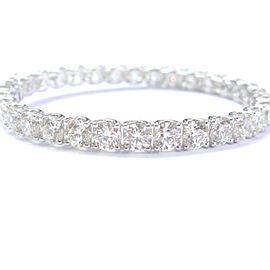 18K White Gold 22.93Ct Round Cut Diamond Tennis Bracelet