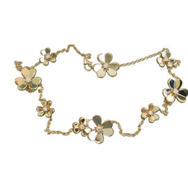 Van Cleef & Arpels 18K Yellow Gold Frivole Flower .69Ct Diamond Necklace