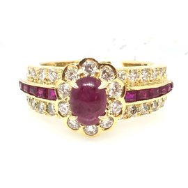 Van Cleef & Arpels 18K Yellow Gold Ruby & Diamond Ring Size 6.25