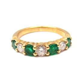 Fred of Paris France 18K Yellow Gold 0.50ctw Diamond Emerald Ring Sz 4