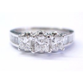 14K White Gold & 1.48ct Diamond Three Stone Engagement Ring