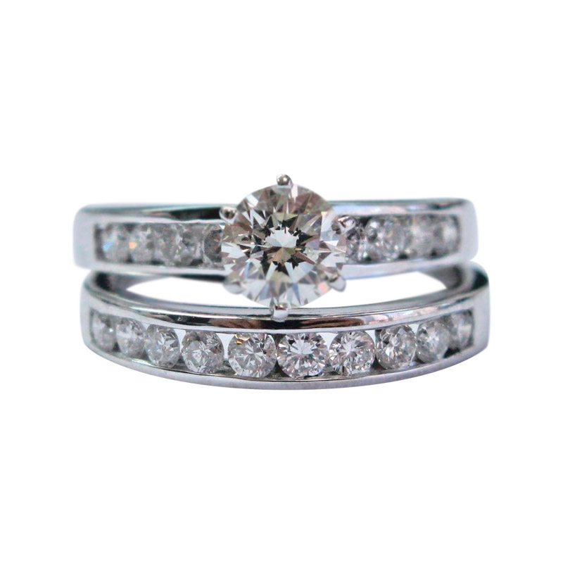 "Image of ""14K White Gold & 1.63ct Round Cut Diamond Channel Setting Wedding Ring"""