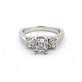Platinum 1.20Ct Three Stone Round Diamond Engagement Ring