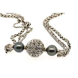 David Yurman Sterling Silver Quatrefoil Diamond Ball Tahitian Pearl Chain Necklace