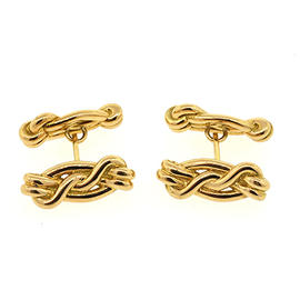 Tom Ford 18K Yellow Gold Love Knot Twisted Braided Cufflinks