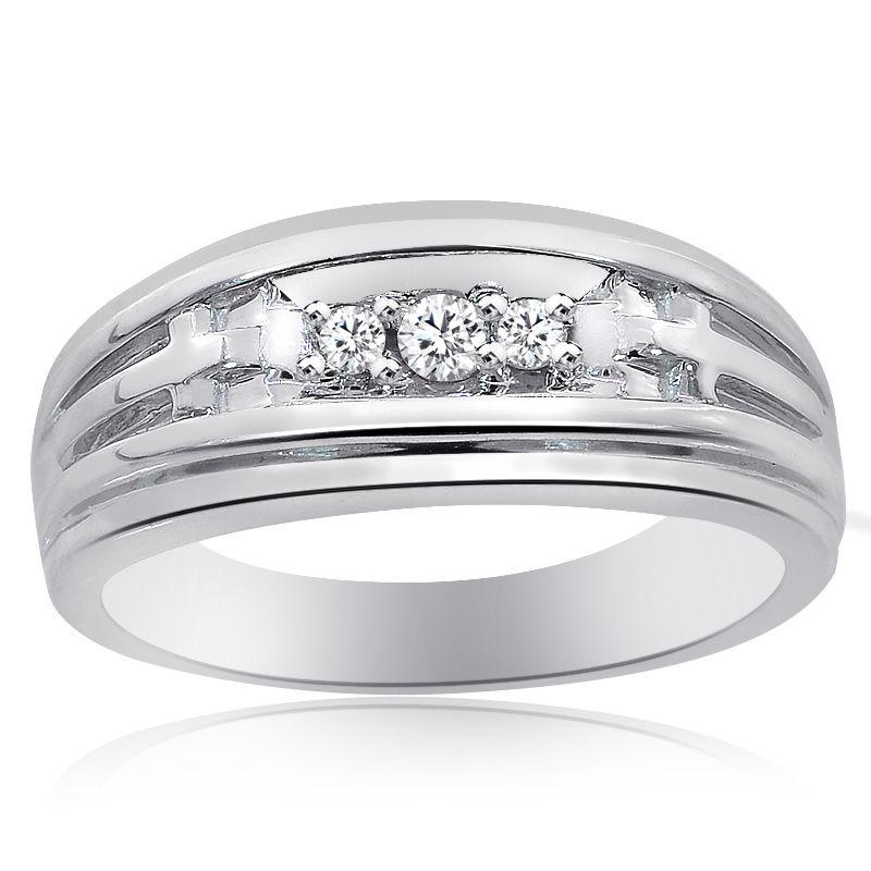 "Image of ""14K White Gold 0.15 Ct Round Cut Diamond Wedding Band Ring Size 8.75"""