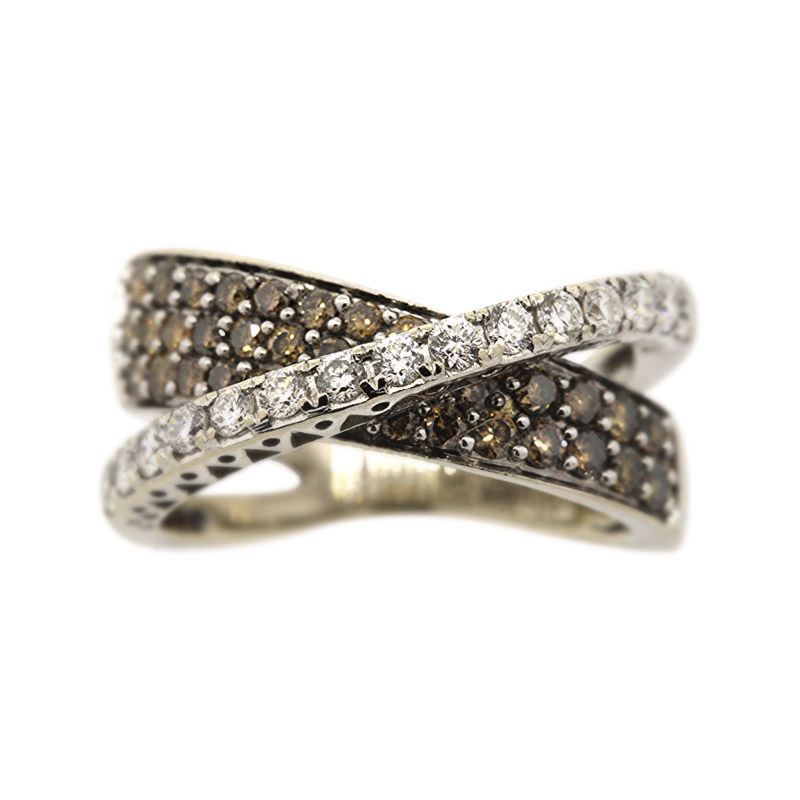 "Image of ""LeVian 14K White Gold Chocolate and White Diamond Crossover Band Size"""
