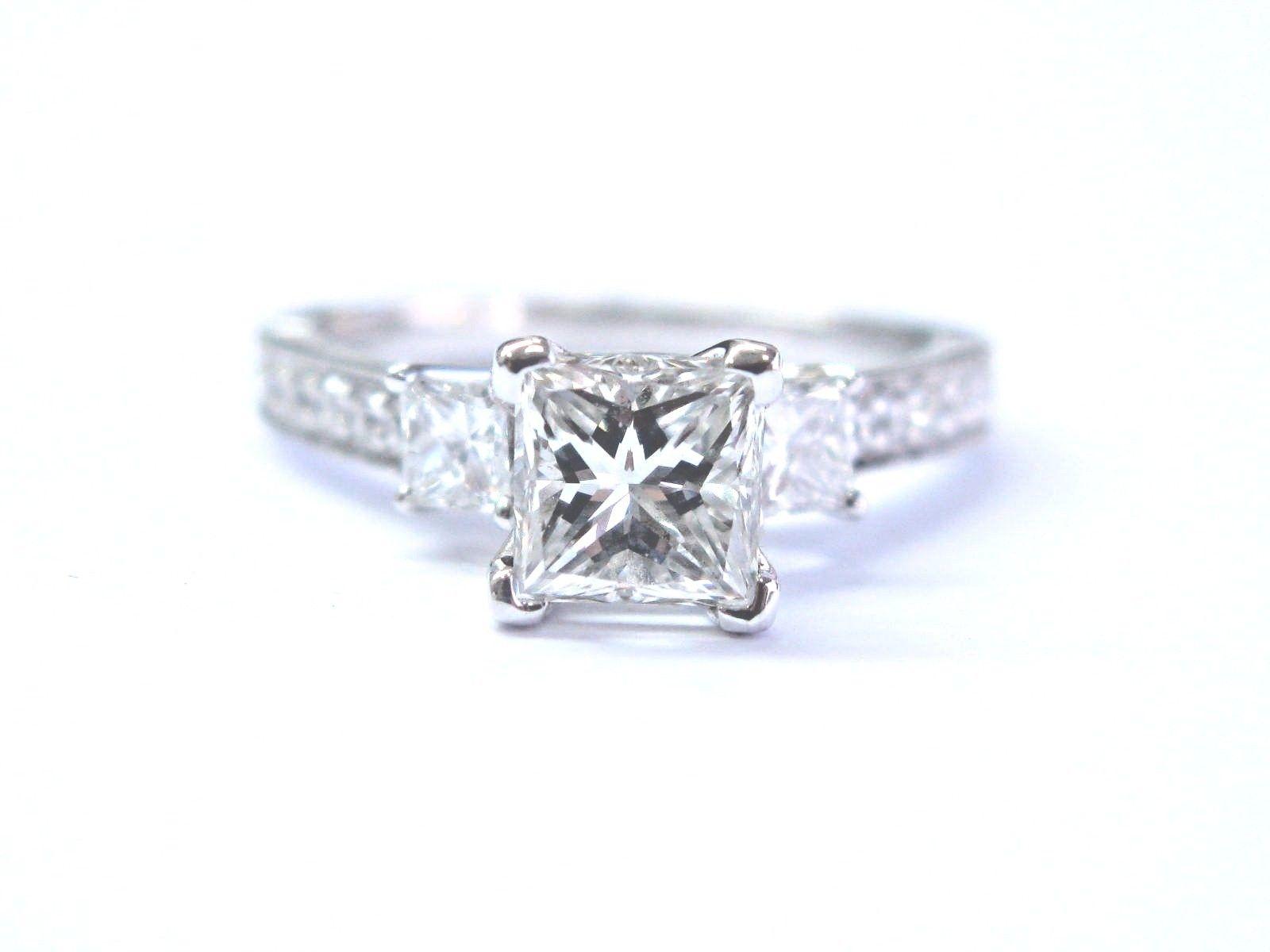 "Image of ""Scott Kay 14K White Gold 1.80 Ct Princess Cut Diamond 3-Stone"""