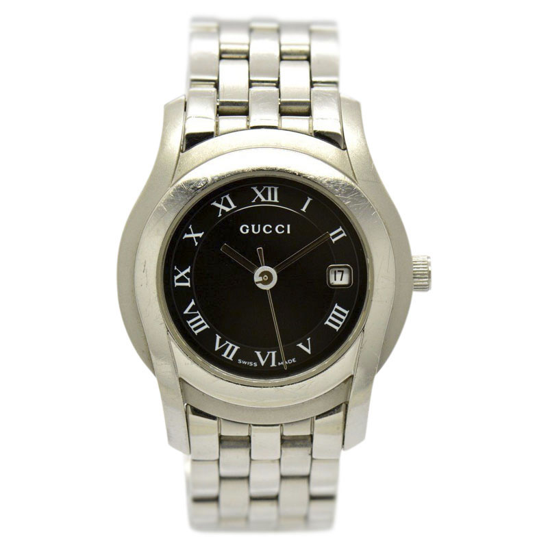 """Image of """"Gucci 5500L Stainless Steel Black Dial Quartz 27mm Women Watch"""""""