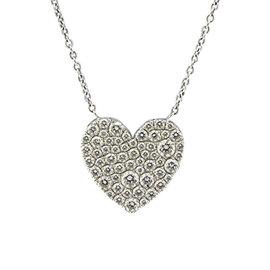 Tiffany & Co. 18K White Gold Metro Pave Diamond Heart Pendant Necklace