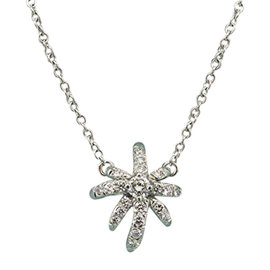 Tiffany & Co. Platinum 0.19 Ct Diamond Firework Pendant Necklace