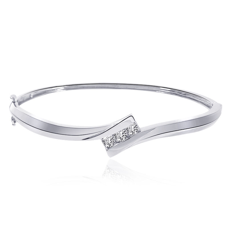 "Image of ""14K White Gold 0.45 Ct Natural Round Brilliant Diamond Bangle Bracelet"""