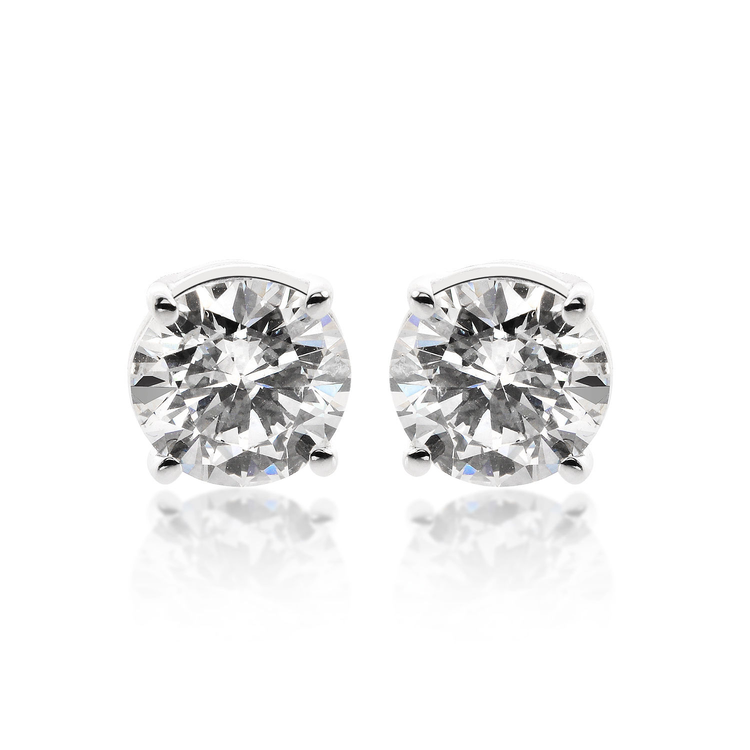 "Image of ""14K White Gold 2.05ct. Round Brilliant Cut Diamond Stud Earrings"""