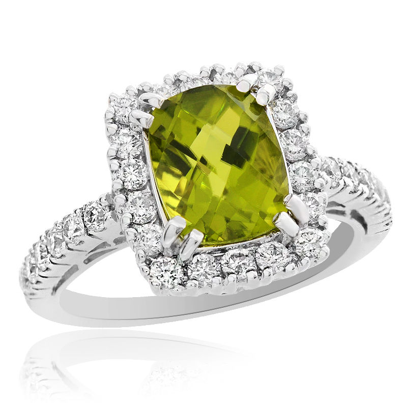 "Image of ""18K White Gold 2.10 Ct Cushion Cut Peridot and 0.76 Ct Round Cut"""