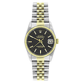 Rolex Datejust 16233 Steel & Gold Black Stick Dial 18K Gold Fluted Bezel Mens 36mm Watch