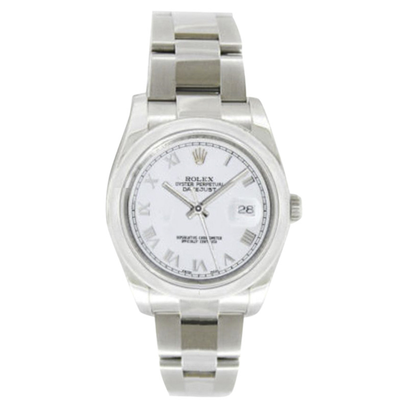 """Image of """"Rolex Datejust Oyster Steel 116200 White Roman Dial Smooth Bezel Mens"""""""