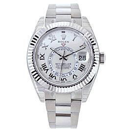 Rolex Sky Dweller 326939 18K White Gold Silver Roman Dial 42mm Mens Watch