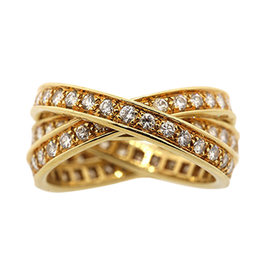 Cartier Trinity 18K Yellow Gold Diamond Wedding Band Ring Size 6.25