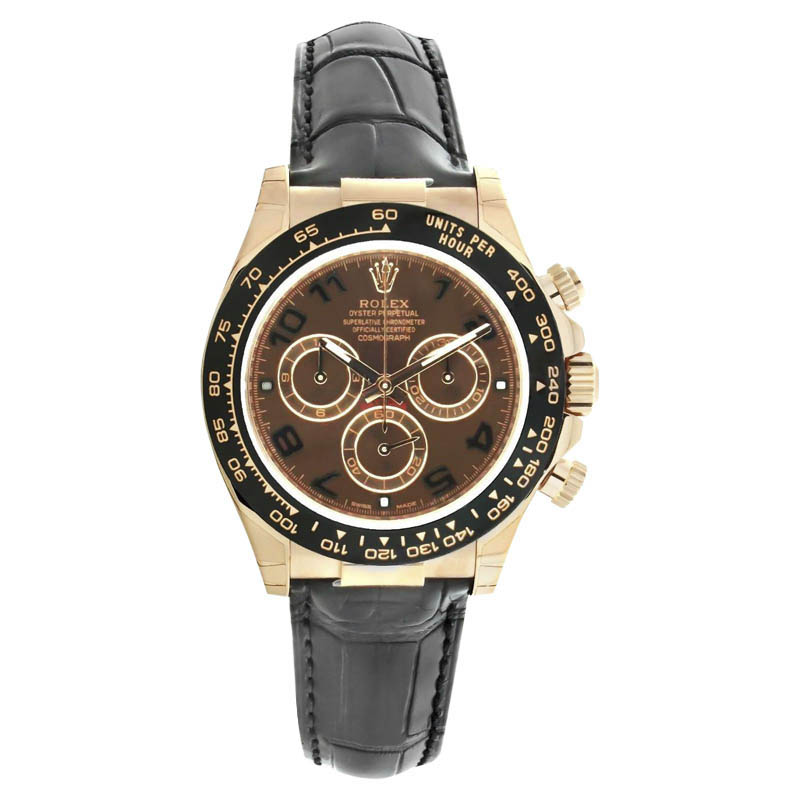 "Image of ""Rolex Daytona 116515 18K Rose Gold & Leather 40mm Mens Watch"""