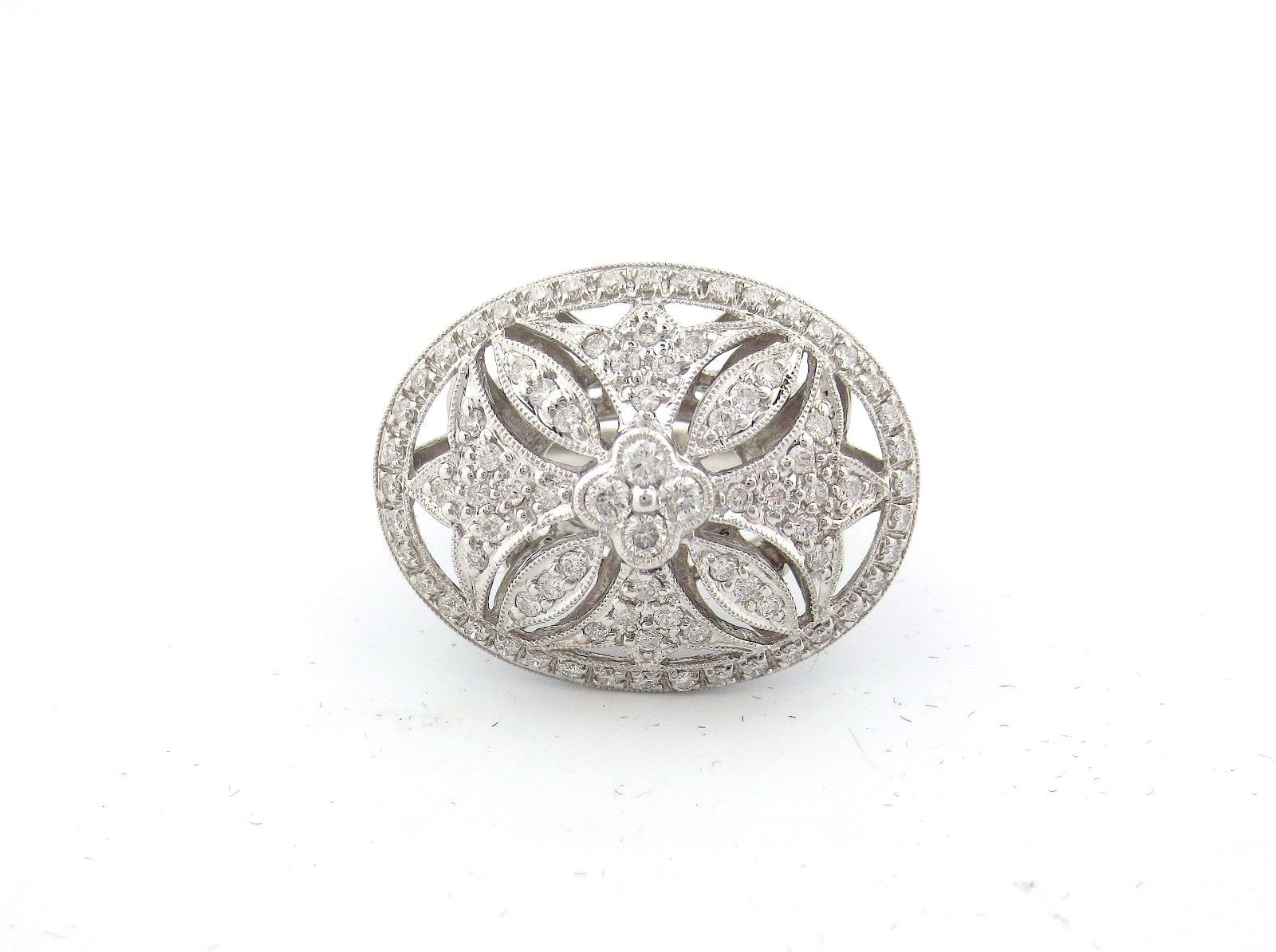 "Image of ""18K White Gold 1.50 Ct Round Diamond Oval Flower Antique Ring Size 7"""