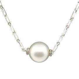 Chimento 18K White Gold Pearl Diamond Lariat Necklace Chain Pendant